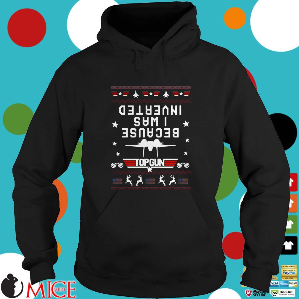 Because I Was Inverted Top Gun Amerian Flag Ugly Christmas Sweater