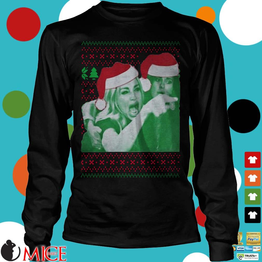 Cat Being Yelled At Ugly Christmas Raglan Sweater