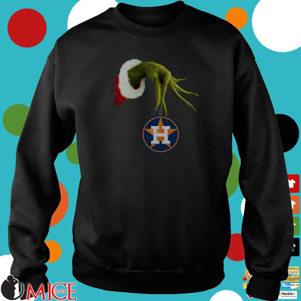 Christmas Grinch Hand Holding Houston Astros Shirt