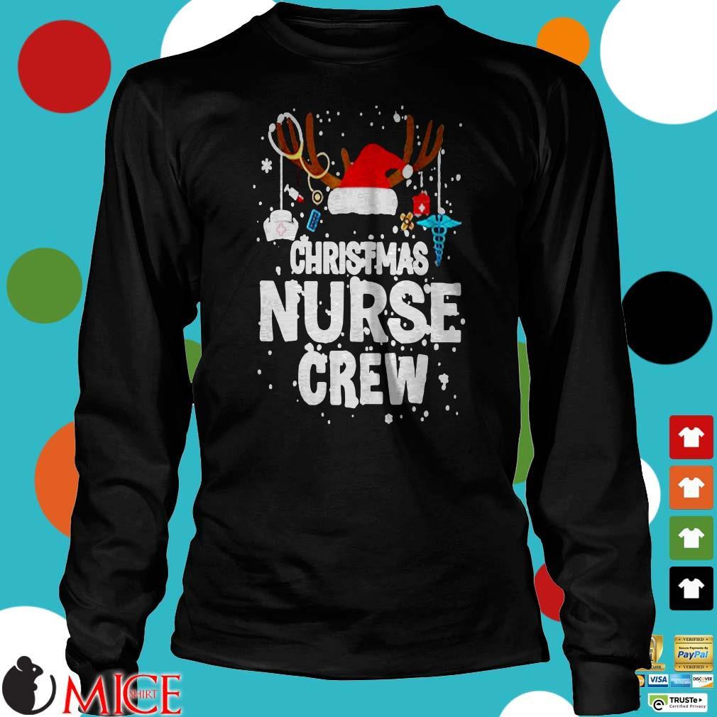 Christmas Nurse Crew Reindeer Santa Hat Shirt