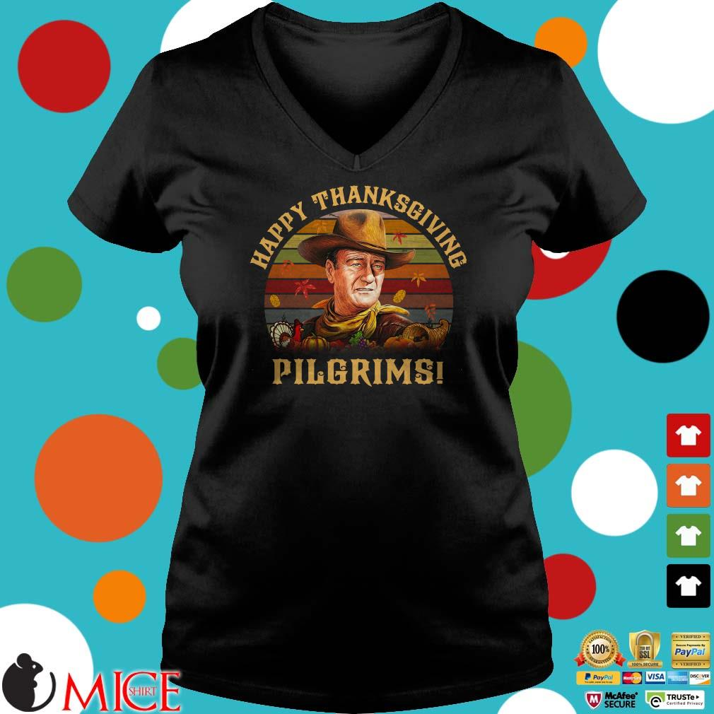 John Wayne Happy Thanksgiving Pilgrims Sunset Vintage shirt