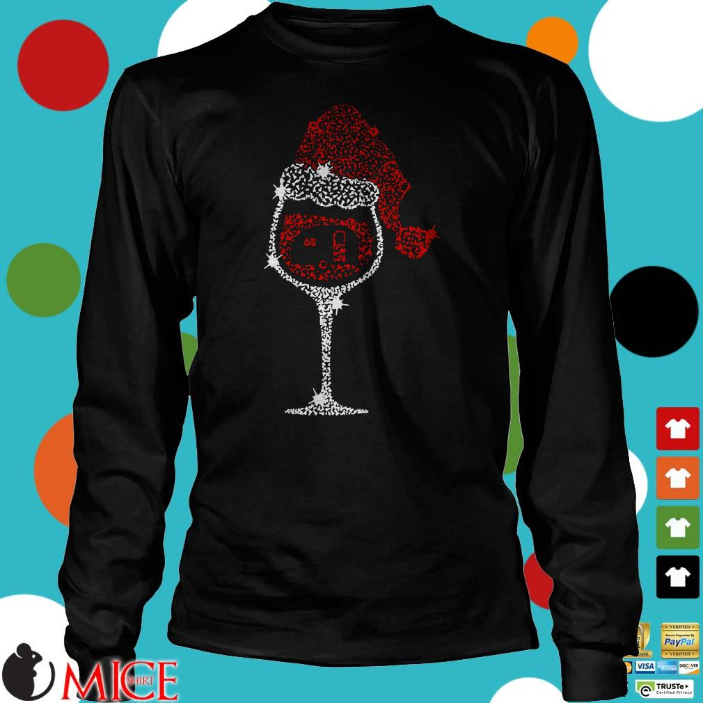 Wine Glass Red Santa Hat Camping Glitter Shirt