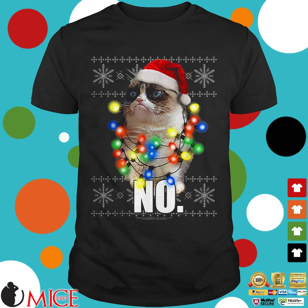 Grumpy Cat Ugly Sweater Christmas Lights No Graphic Sweater