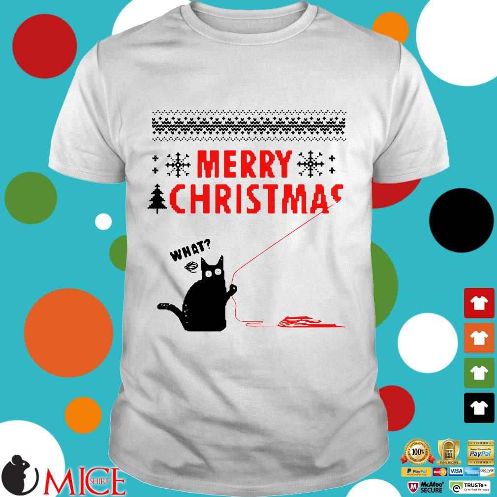 Merry Christmas Black Cat What Ugly Sweater
