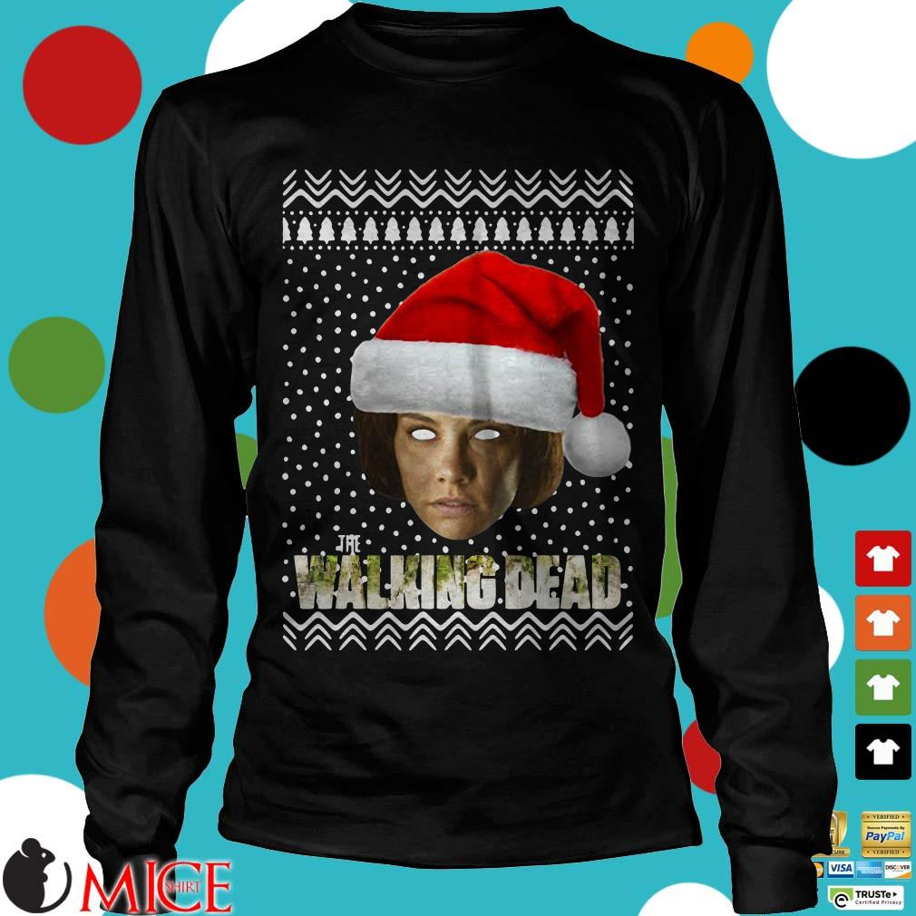 The Walking Dead Maggie Greene Santa Hat Ugly Christmas Sweater