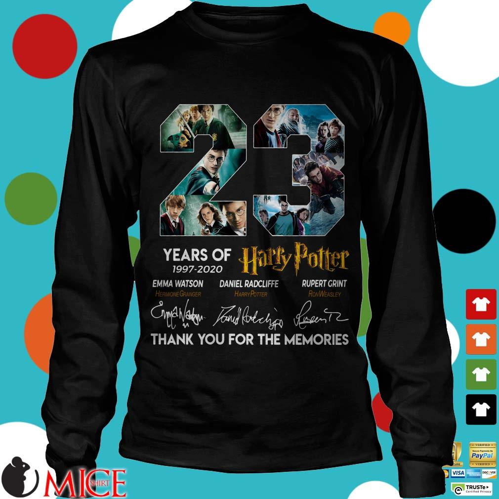 23 years of 1997-2020 Harry Potter Signature Thank You For The Memories Shirt