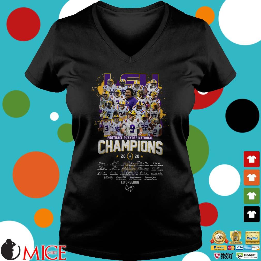Lsu Tigers Football Playoff National Champions 2020 Signatures Shirt