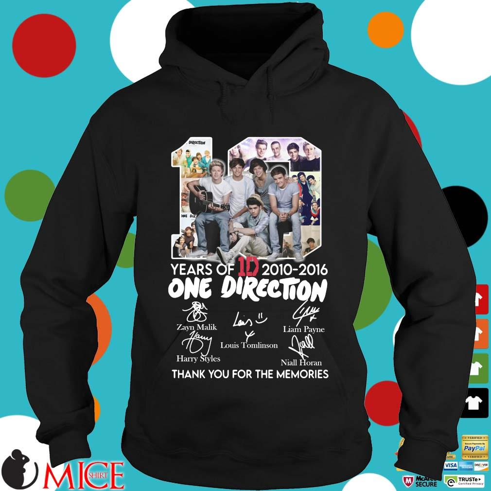 10 Years Of 1d 2010-2016 One Direction Thank You For The Memories Signatures Shirt d Hoodie