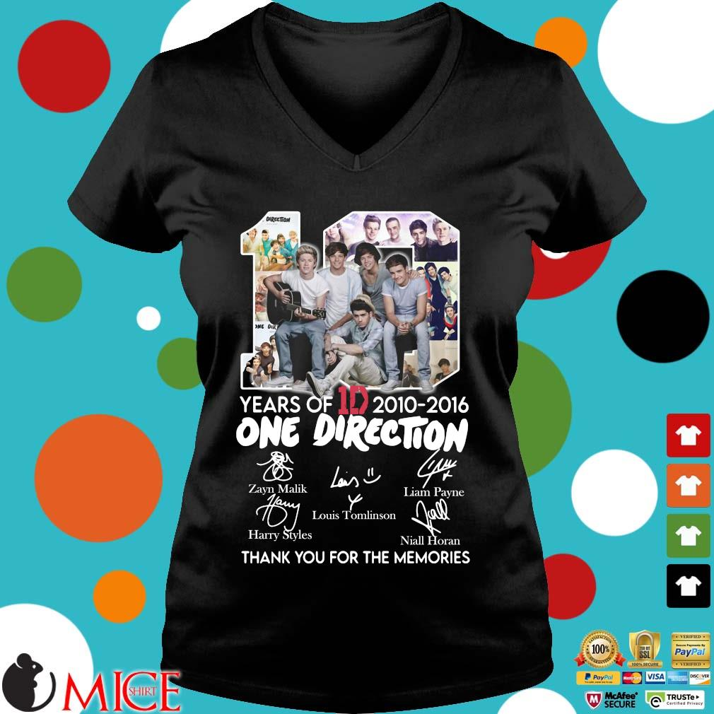 10 Years Of 1d 2010-2016 One Direction Thank You For The Memories Signatures Shirt d Ladies V-Neck