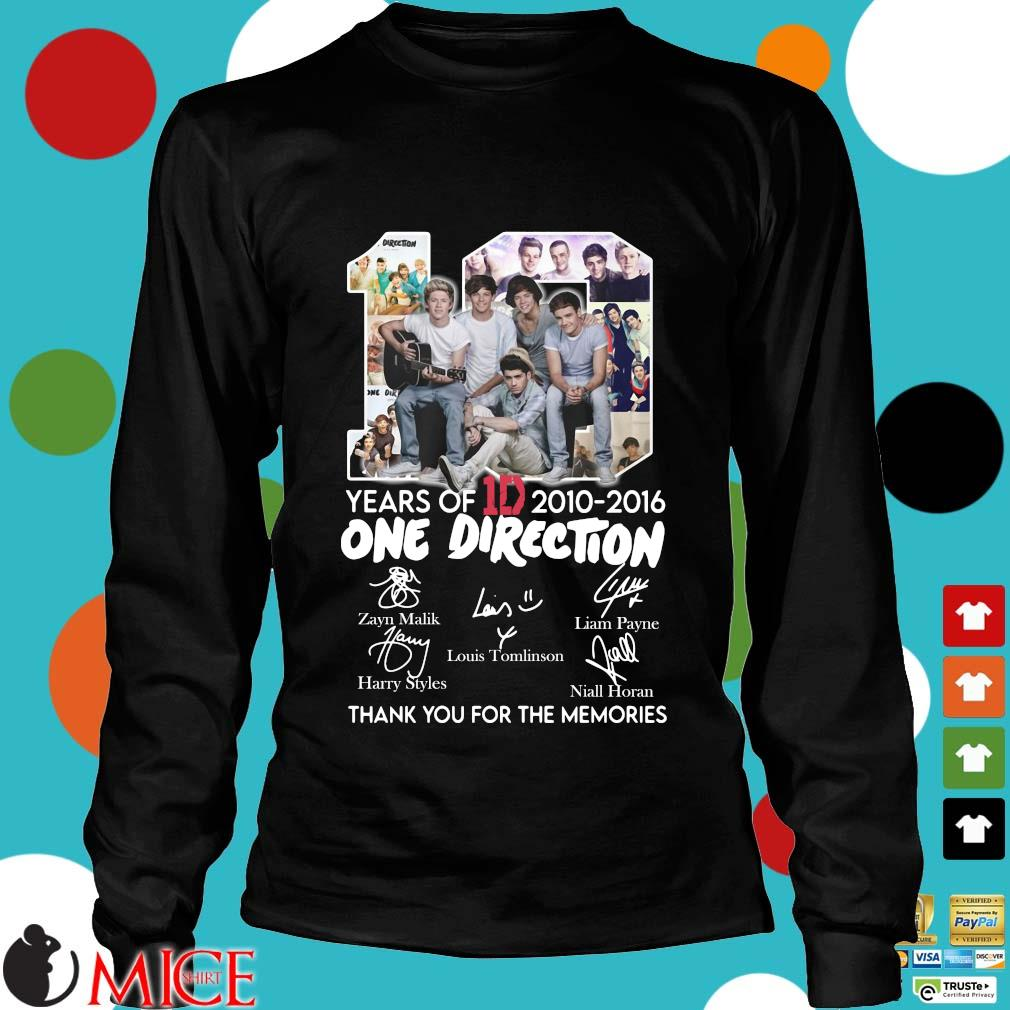 10 Years Of 1d 2010-2016 One Direction Thank You For The Memories Signatures Shirt d Longsleeve