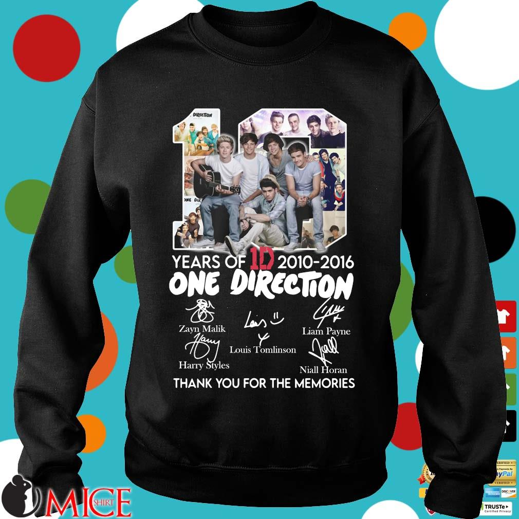 10 Years Of 1d 2010-2016 One Direction Thank You For The Memories Signatures Shirt d Sweater