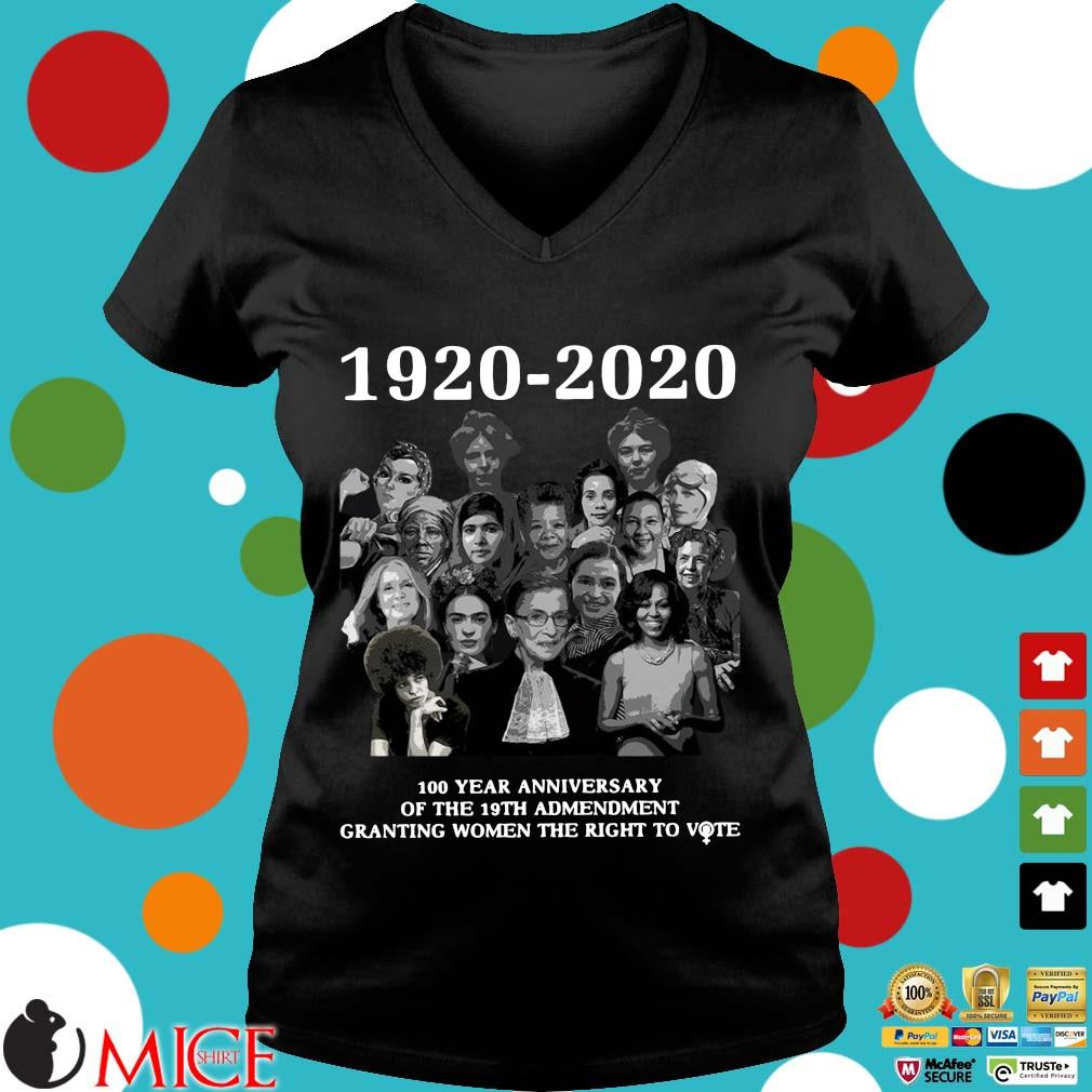 1920 2020 100 Years Anniversary Of The 19th Amendment Granting Women The Right To Vote Shirt d Ladies V-Neck