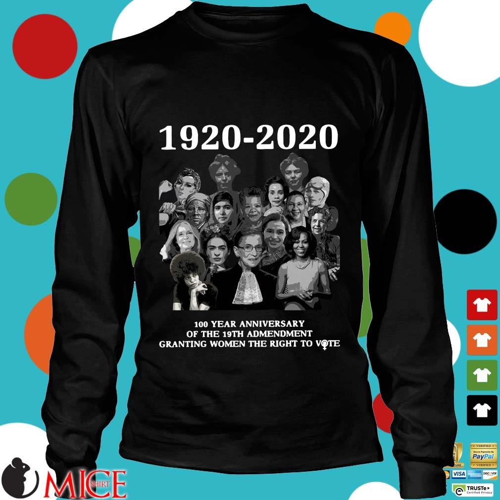 1920 2020 100 Years Anniversary Of The 19th Amendment Granting Women The Right To Vote Shirt d Longsleeve