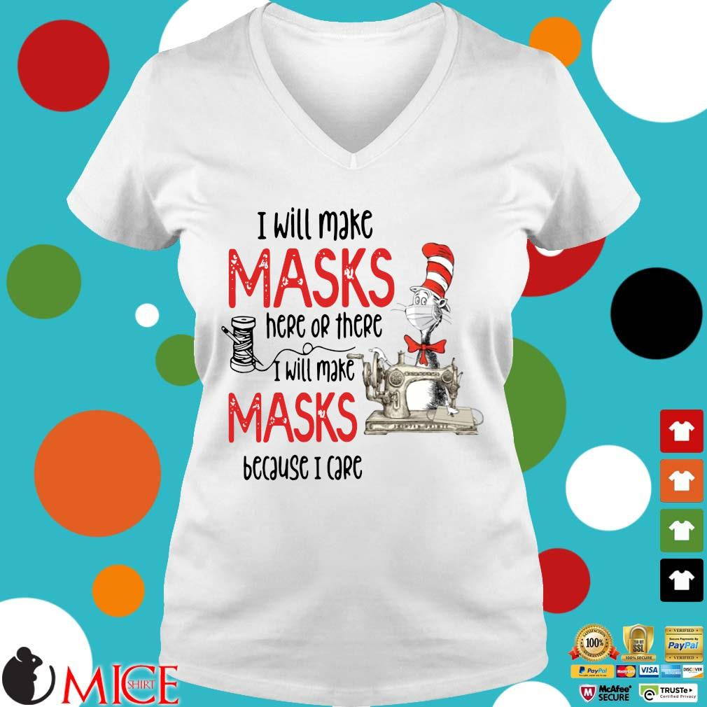 Dr Seuss I Will Make Masks Here Or There Shirt t Ladies V-Neck