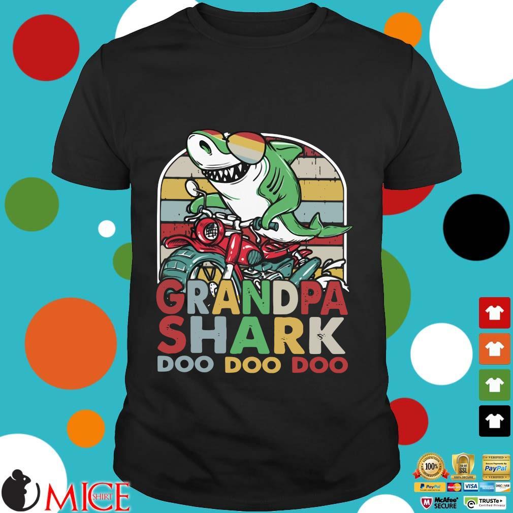 Grandfather Shark Doo Doo Doo Biker Premium Vintage Shirt