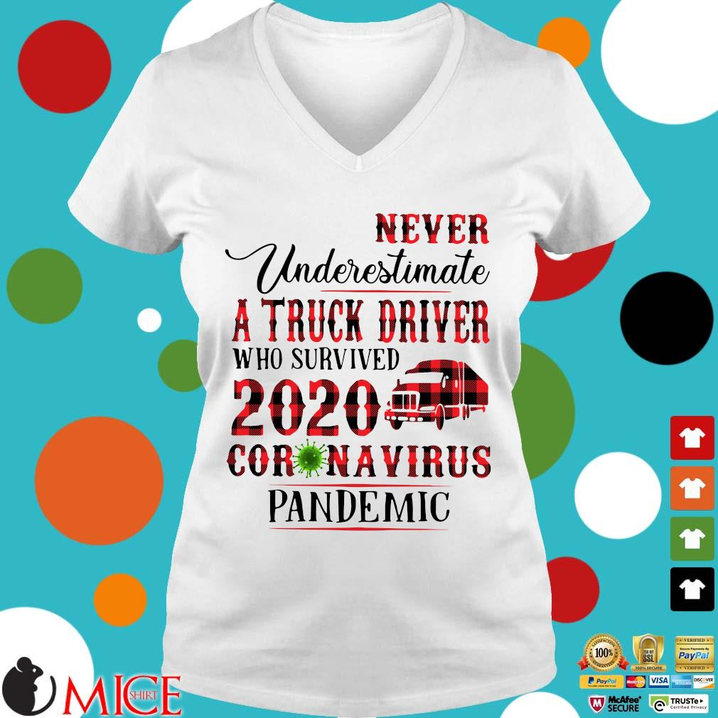 Never Underestimate A Truck Driver Who Survived 2020 Coronavirus Pandemic Shirt t Ladies V-Neck