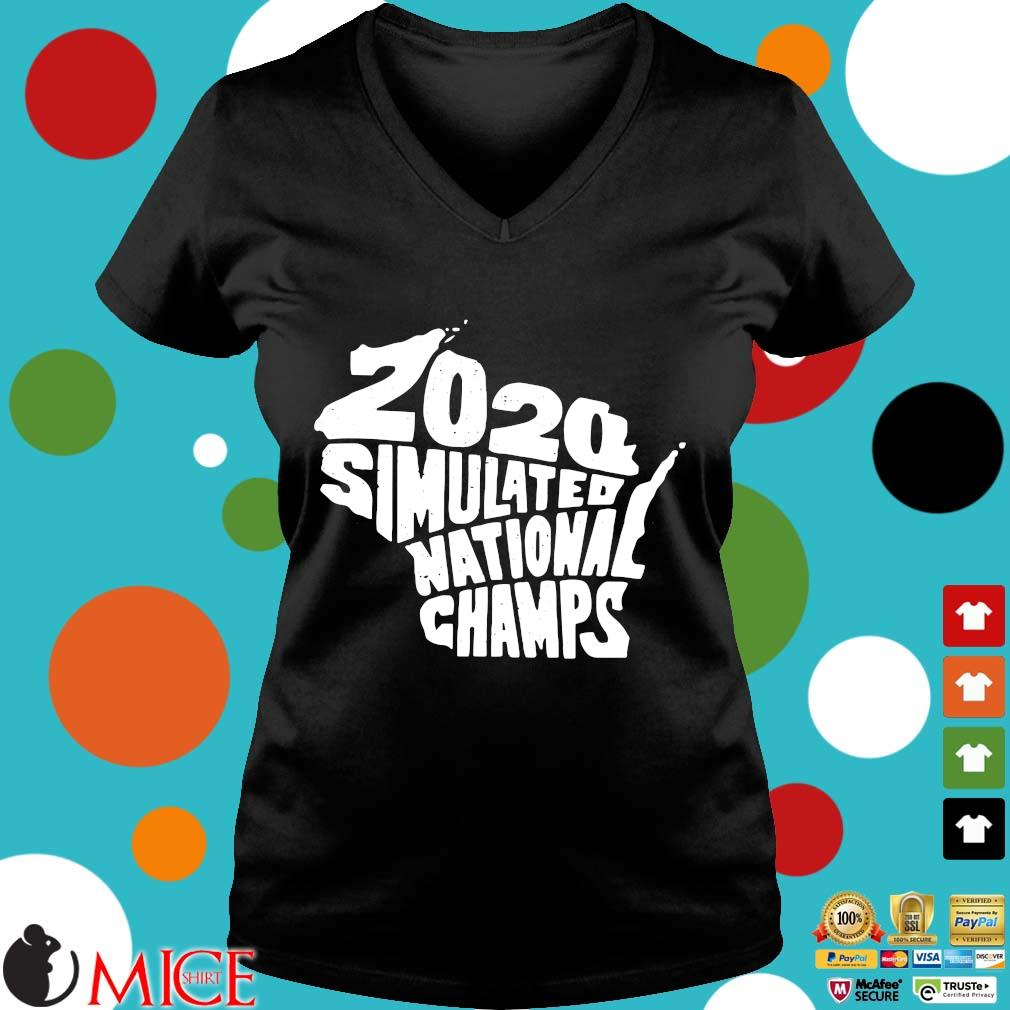 2020 Simulated National Champs Shirt d Ladies V-Neck