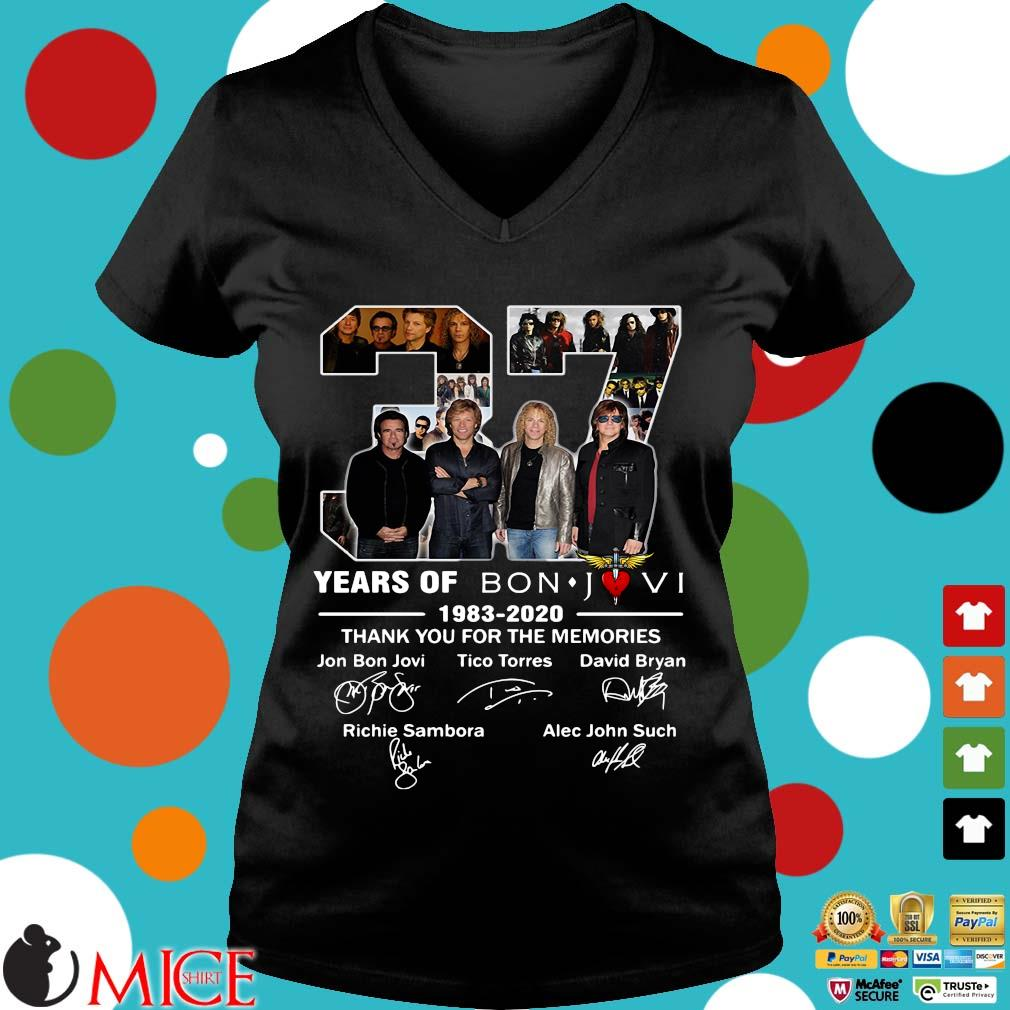 37 Years Of Bon Jovi 1983 2020 Thank You For The Memories Signatures Shirt d Ladies V-Neck