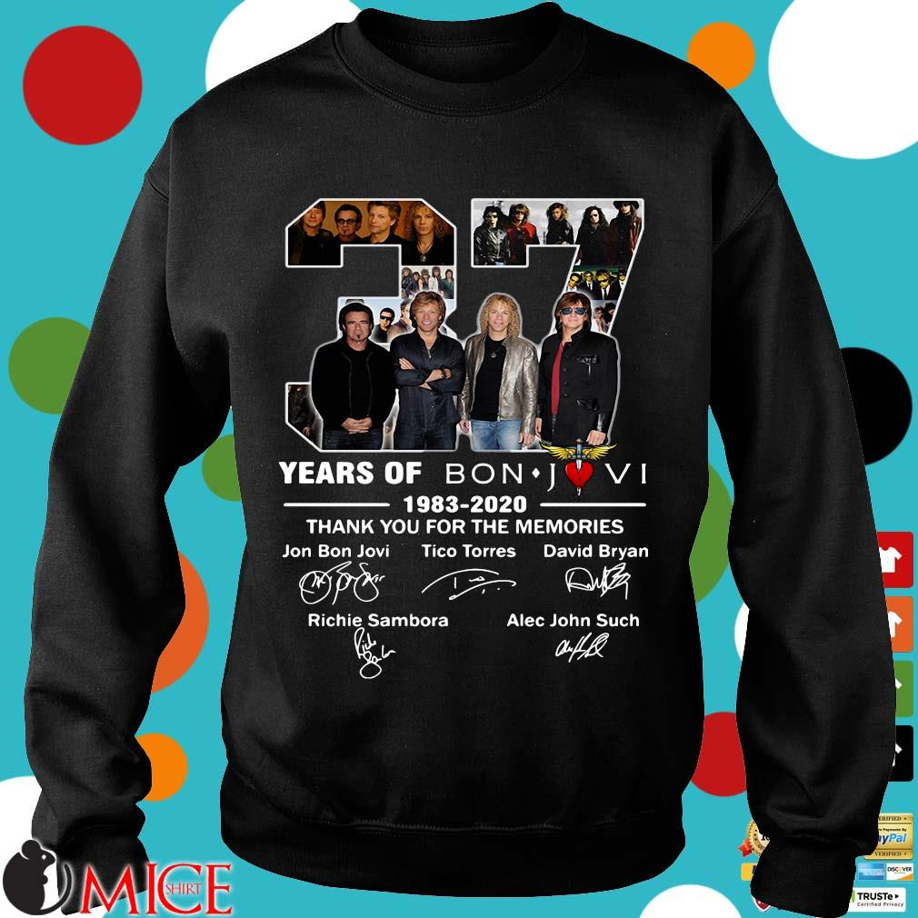 37 Years Of Bon Jovi 1983 2020 Thank You For The Memories Signatures Shirt d Sweater