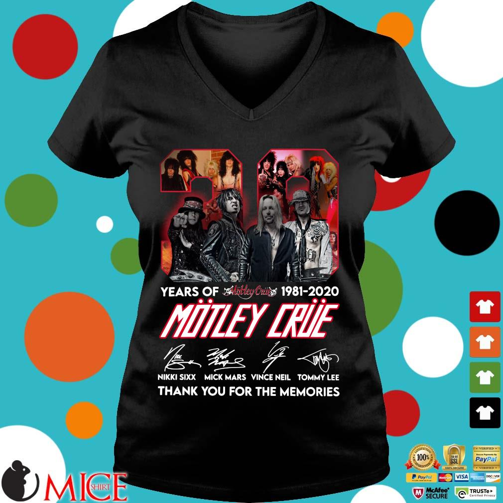 39 Year Of 1981 2020 Motley Crue Signature Thank You For The Memories Shirt d Ladies V-Neck