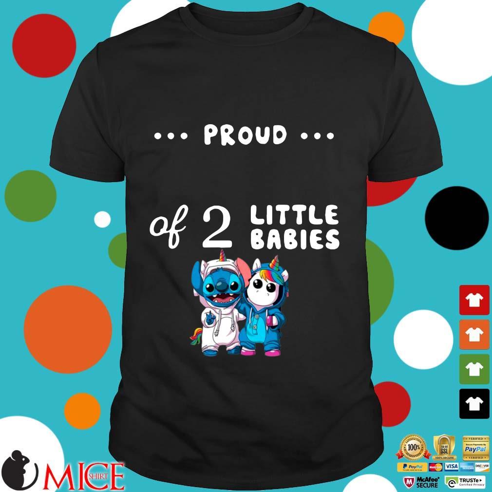 Baby Stitch And Unicorn Proud Of 2 Little Babies Shirt