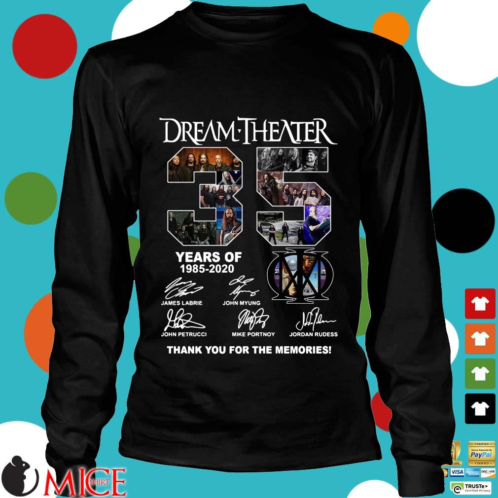 Dream Theater 35 Years Of 1985 2020 Thank You For The Memories Signatures Shirt d Longsleeve