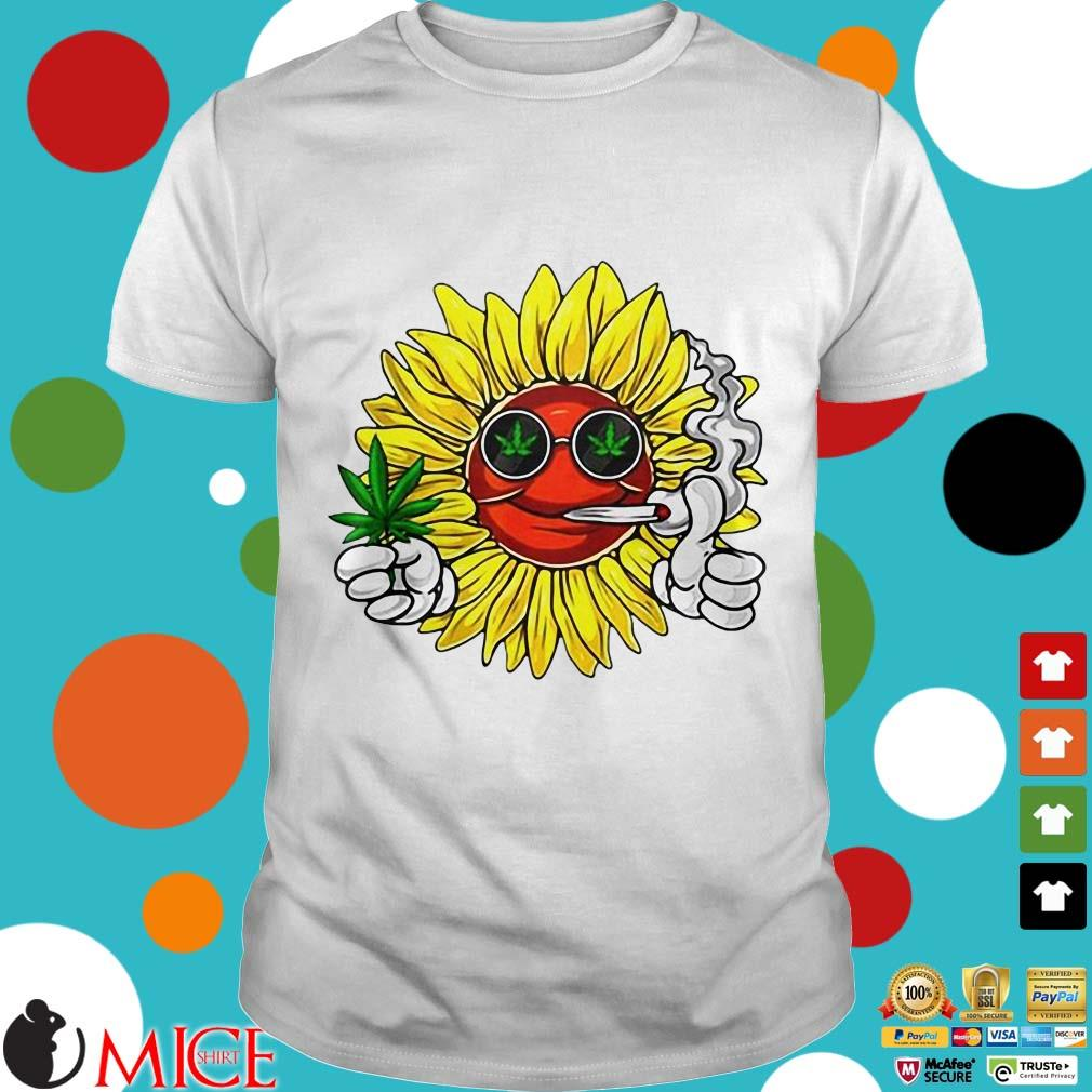 Hippie Sunflower Smoking Weed Stoner Cannabis Marijuana Leaf Shirt