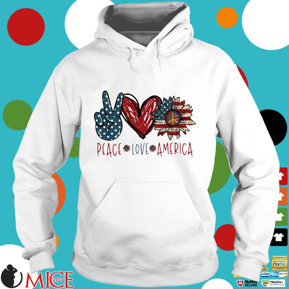 Peace Love Sunflower Cross American Flag Veteran Independence Day Shirt t Hoodie