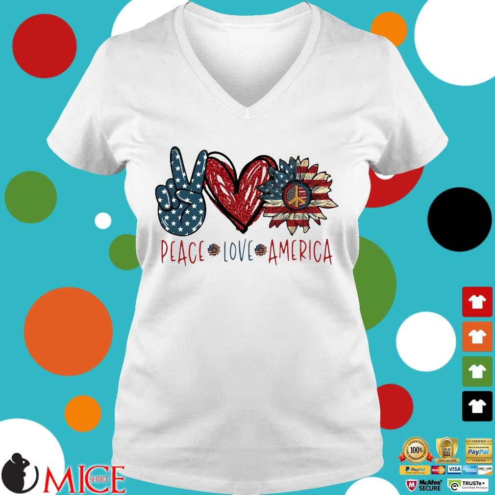 Peace Love Sunflower Cross American Flag Veteran Independence Day Shirt t Ladies V-Neck
