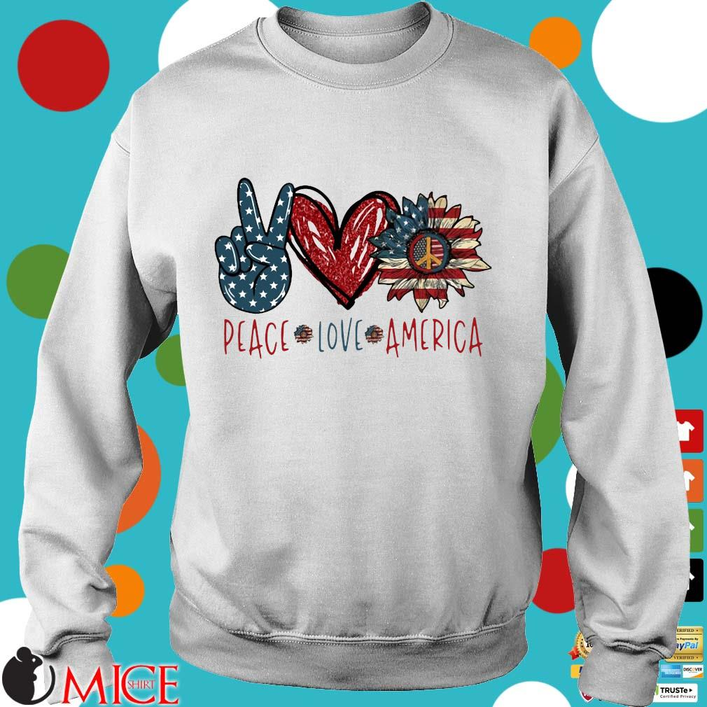 Peace Love Sunflower Cross American Flag Veteran Independence Day Shirt t Sweater
