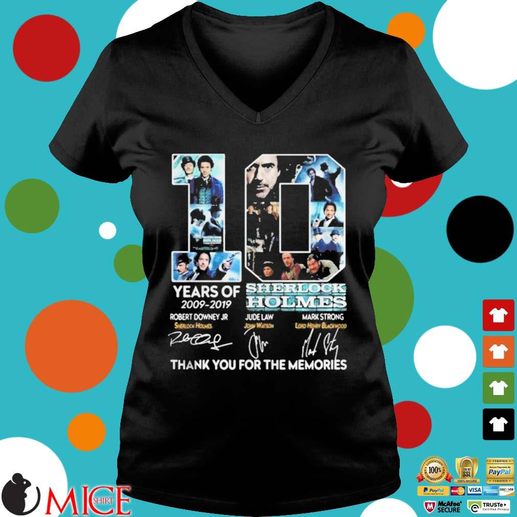 10 years of 20092019 Sherlock Holmes thank you for the memories s d Ladies V-Neck
