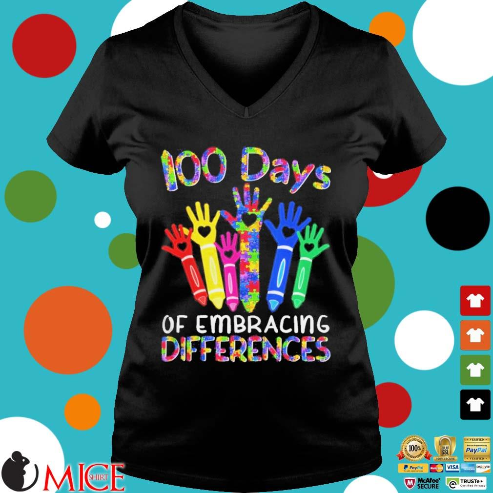 100 Days Of Embracing Differences IEP 100th Day Of School Shirt d Ladies V-Neck