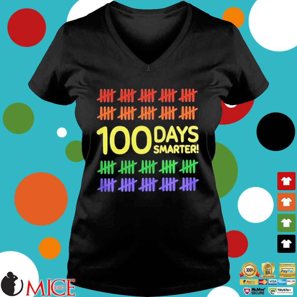 100 Days Smarter LGBT Shirt d Ladies V-Neck