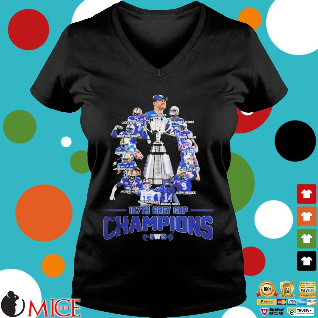 107th Grey Cup Blue Bombers Players Champions 2019 Shirt d Ladies V-Neck