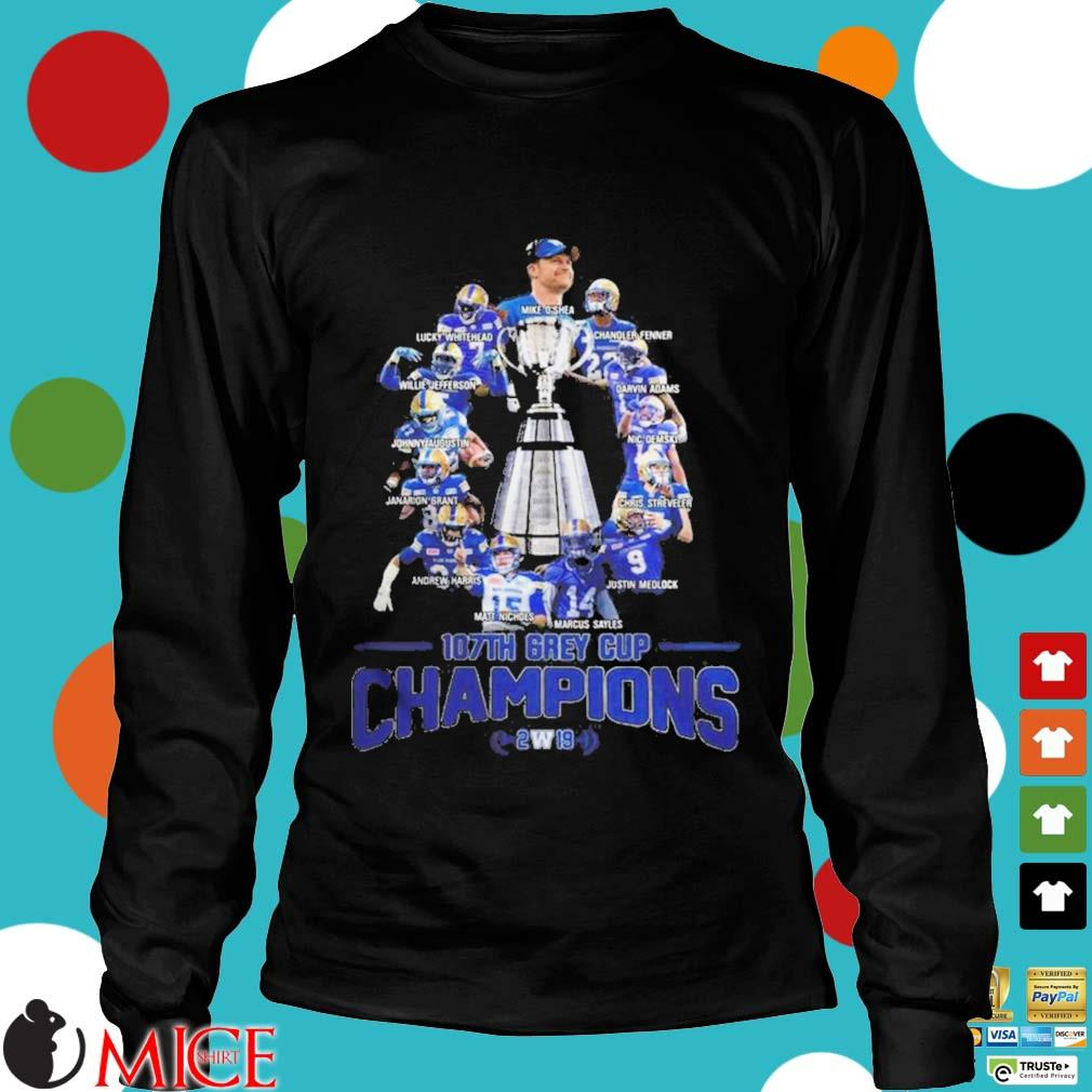 107th Grey Cup Blue Bombers Players Champions 2019 Shirt d Longsleeve