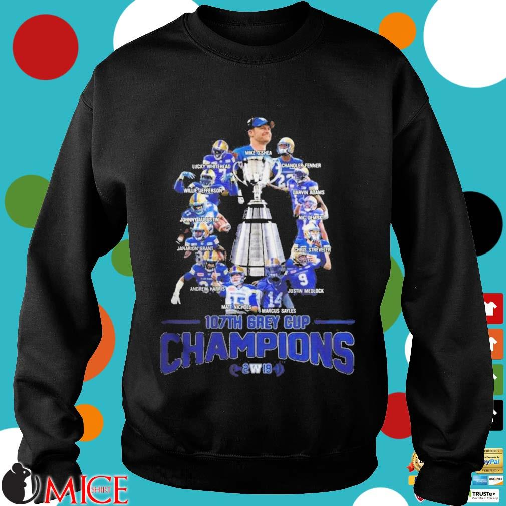 107th Grey Cup Blue Bombers Players Champions 2019 Shirt d Sweater