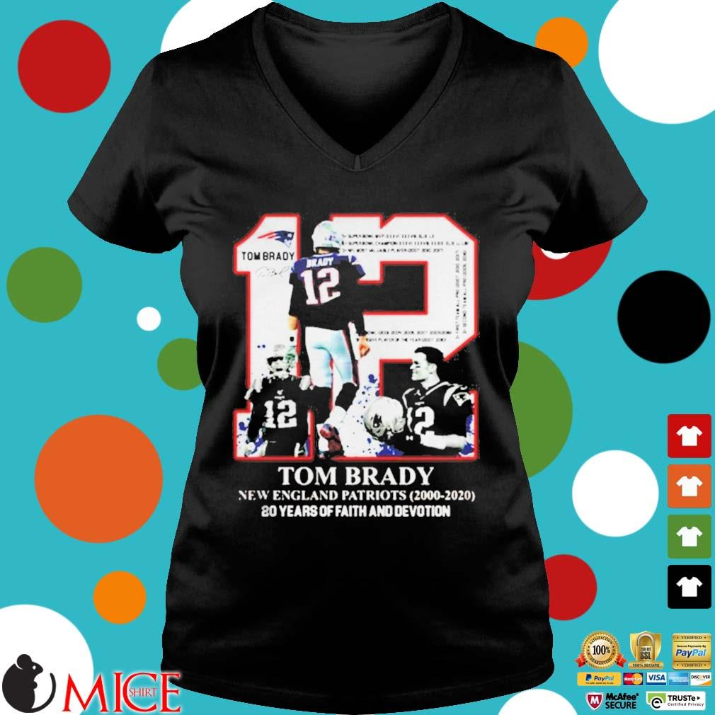 12 Tom Brady New England Patriots 20 years of faith and devotion s d Ladies V-Neck