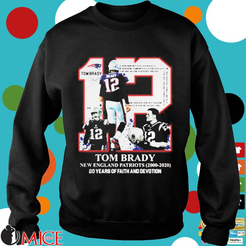 12 Tom Brady New England Patriots 20 years of faith and devotion s d Sweater