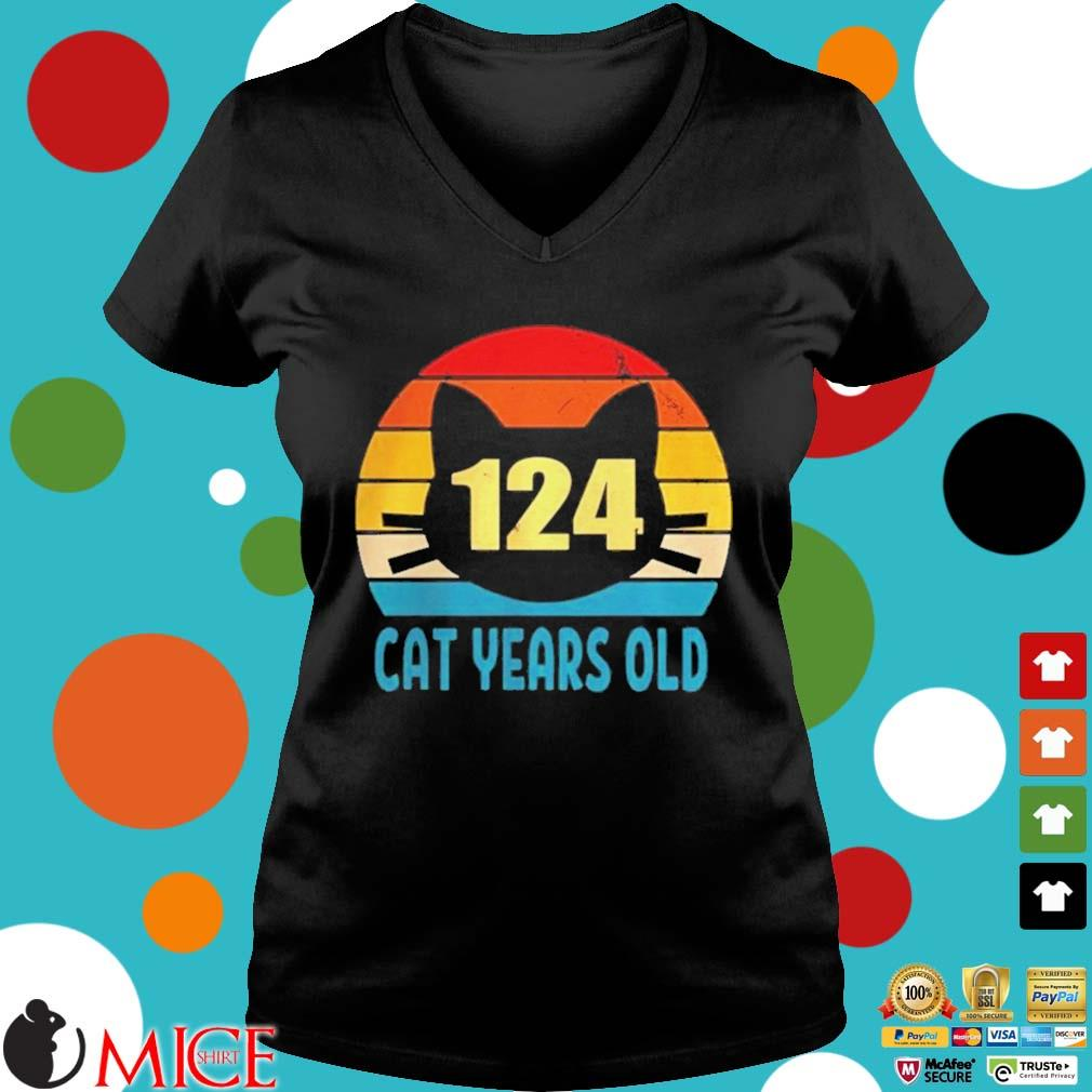 124 cat years old vintage s d Ladies V-Neck