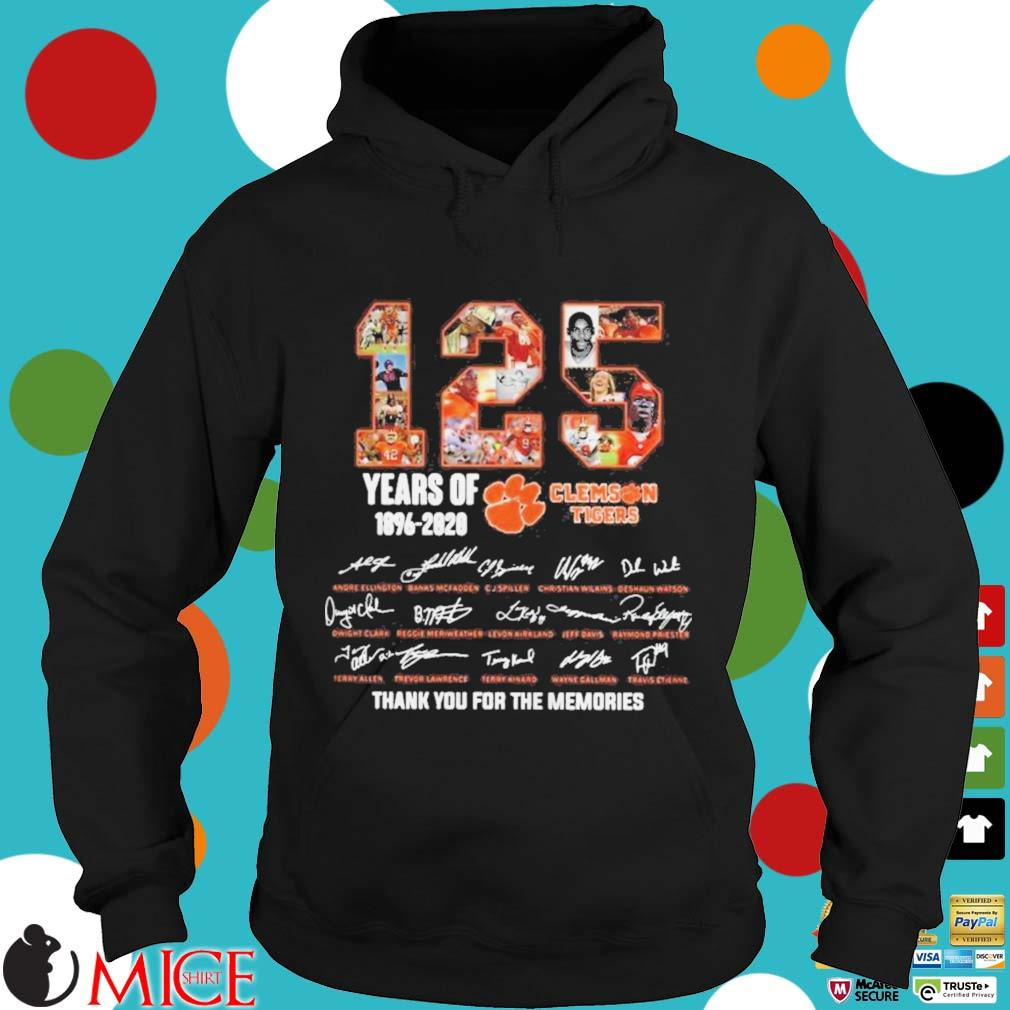 125 Years of Clemson Tigers 1896 2020 thank you for the memories s d Hoodie