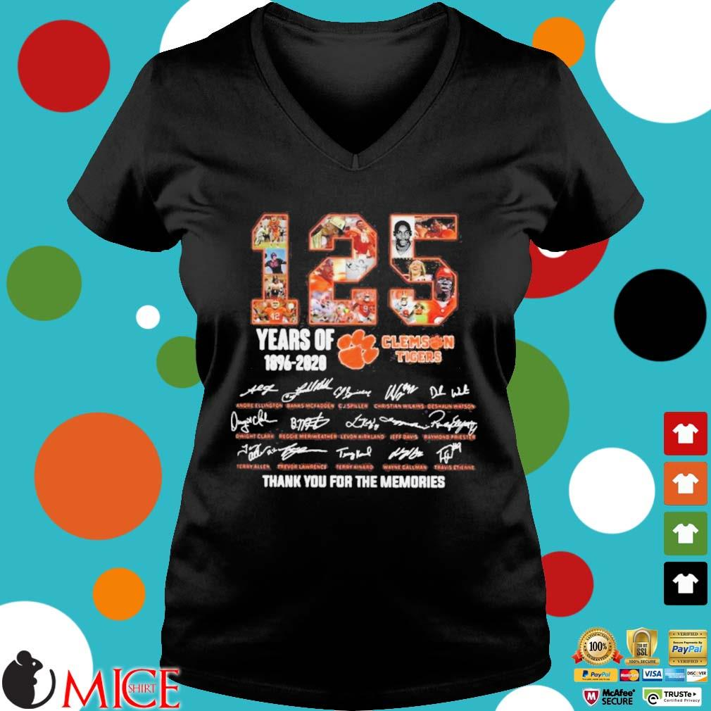 125 Years of Clemson Tigers 1896 2020 thank you for the memories s d Ladies V-Neck