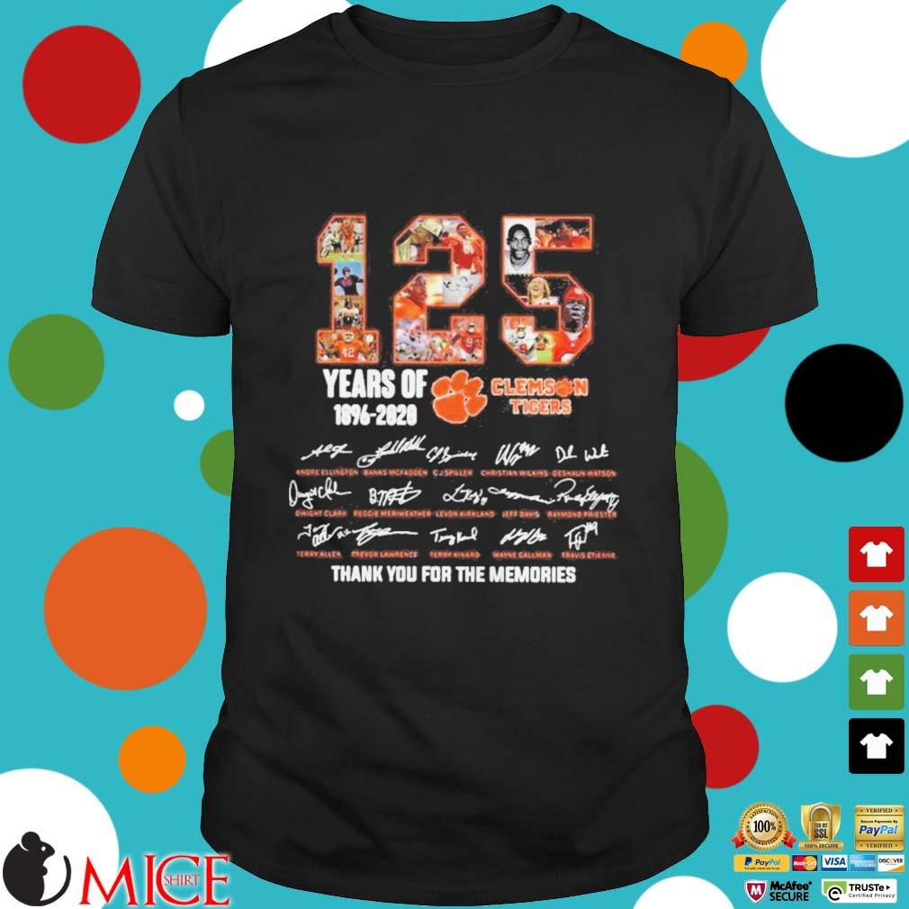 125 Years of Clemson Tigers 1896 2020 thank you for the memories shirt