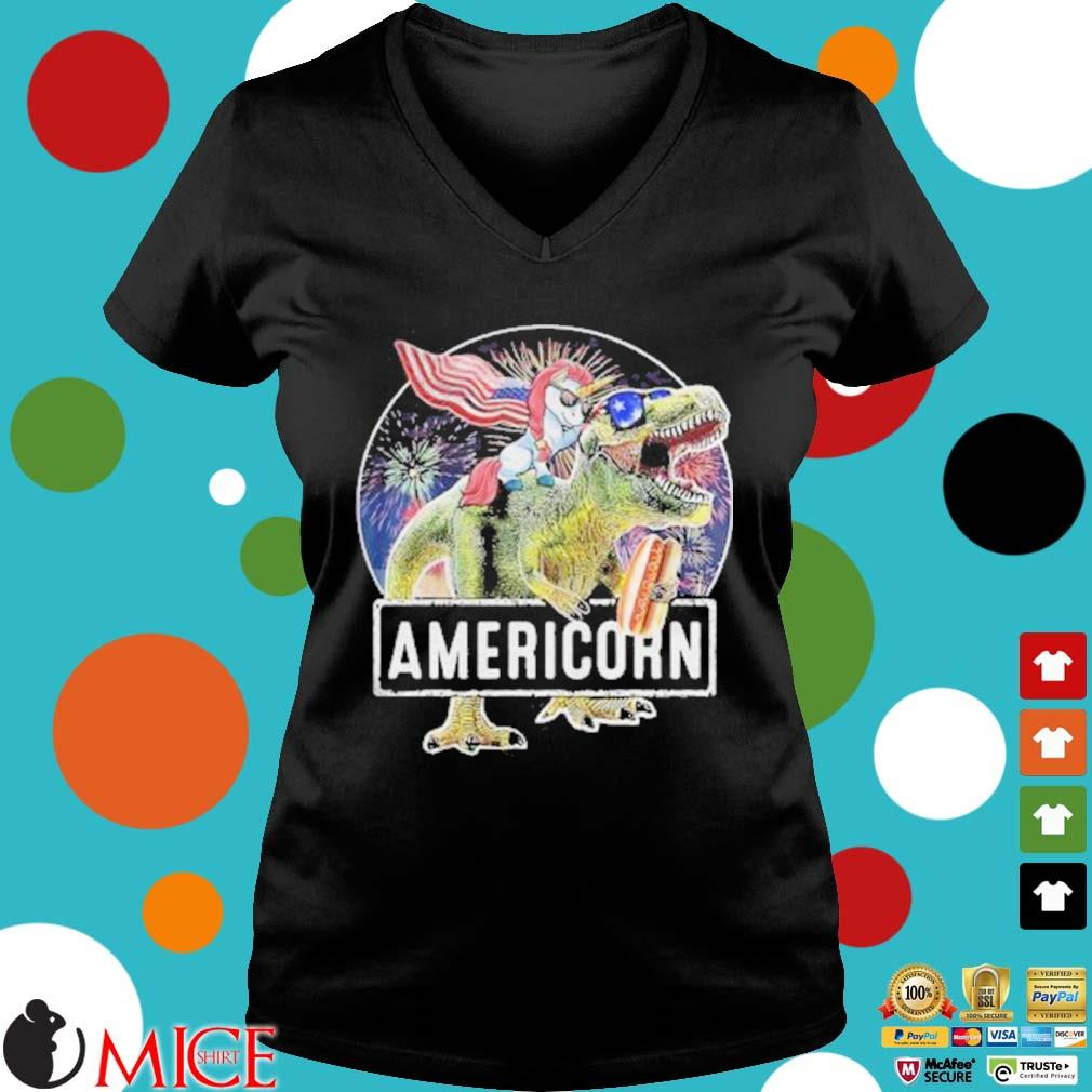 Americorn Unicorn Dinosaurs Sandwich American Flag Independence Day Shirt d Ladies V-Neck