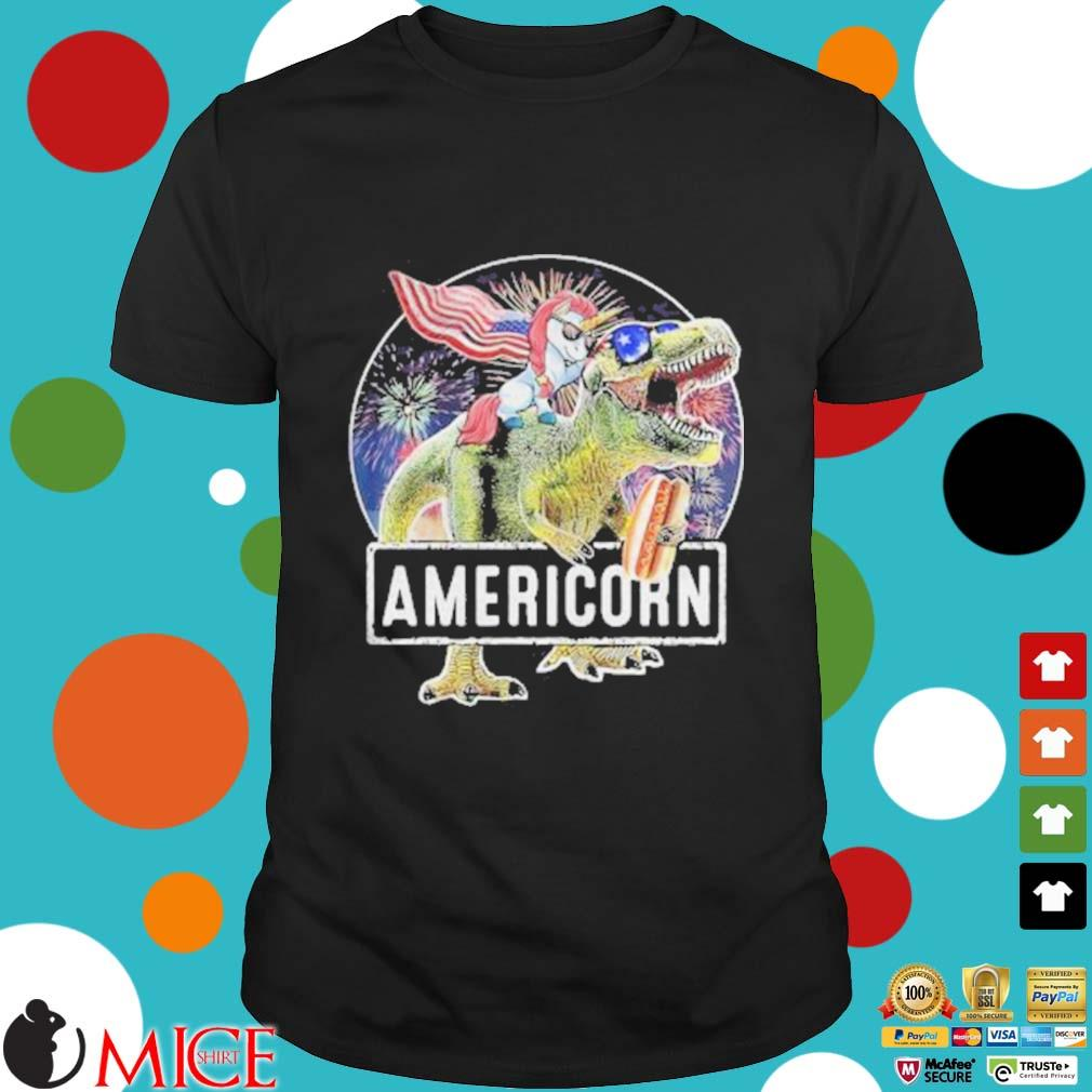 Americorn Unicorn Dinosaurs Sandwich American Flag Independence Day Shirt