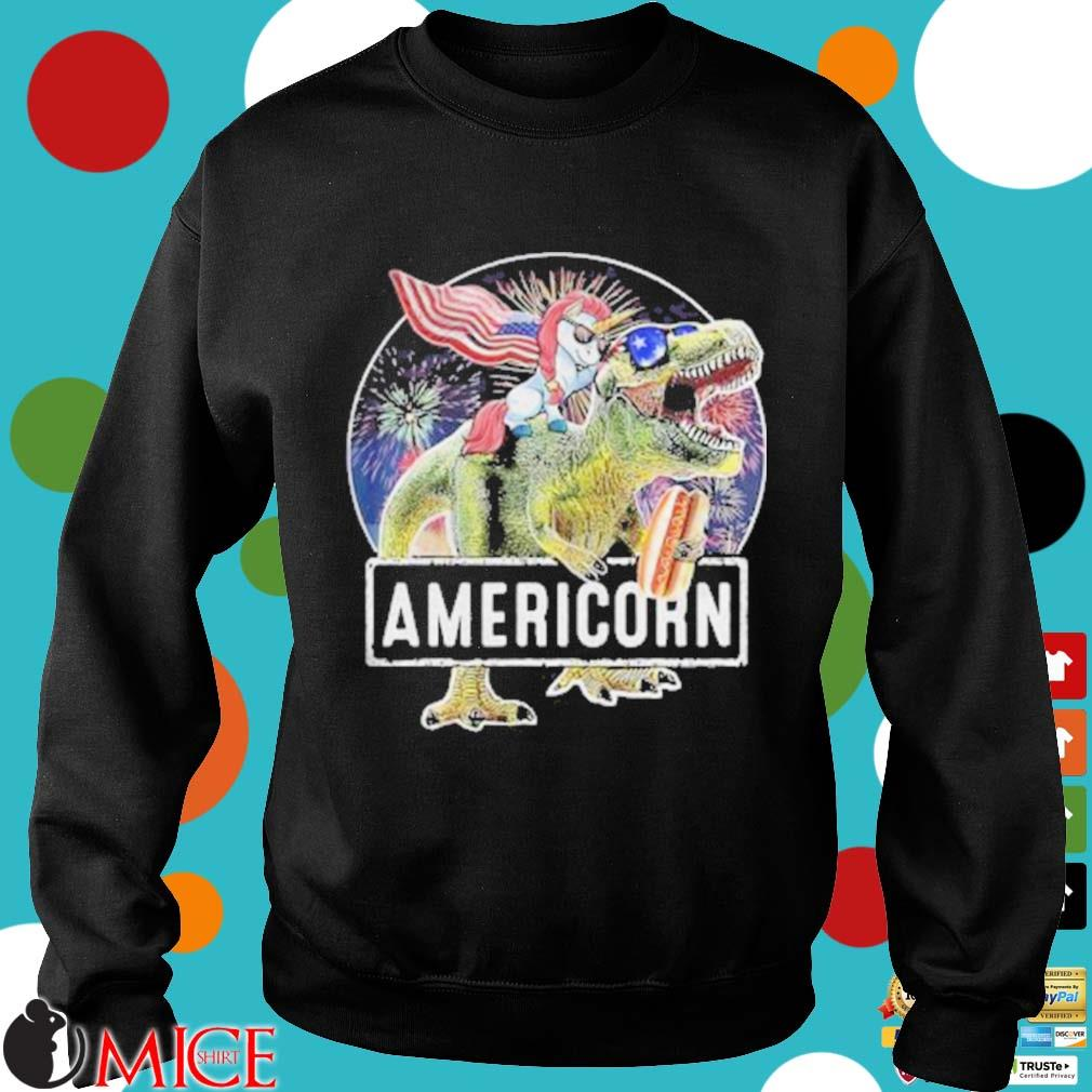 Americorn Unicorn Dinosaurs Sandwich American Flag Independence Day Shirt d Sweater