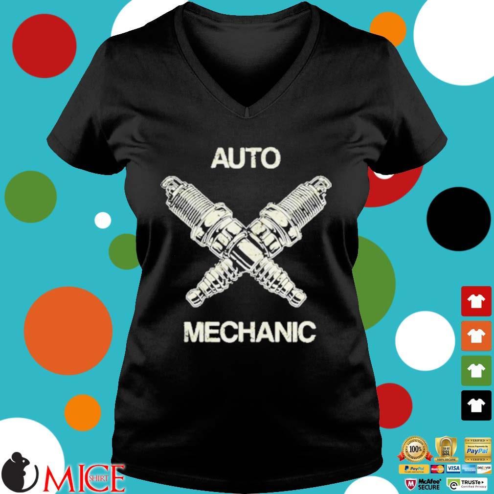 Auto Mechanic Two Screws White s d Ladies V-Neck