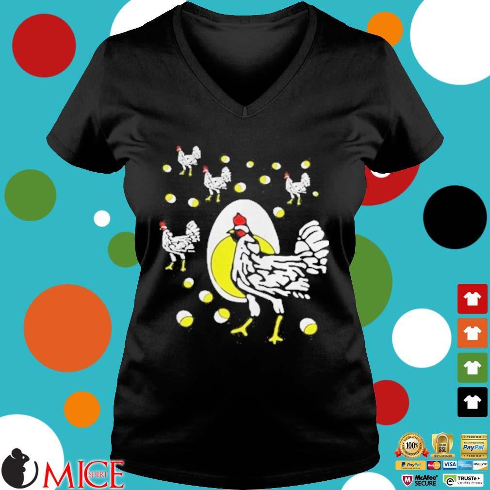 Black hens white eggs s d Ladies V-Neck