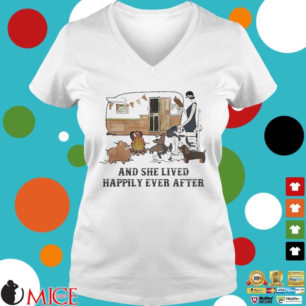 Camping fire and she lived happily ever after s t Ladies V-Neck
