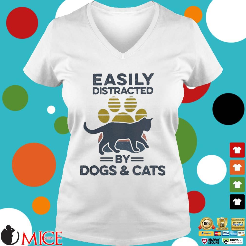 Easily Distracted By Dogs And Cats Footprint Vintage Shirt t Ladies V-Neck
