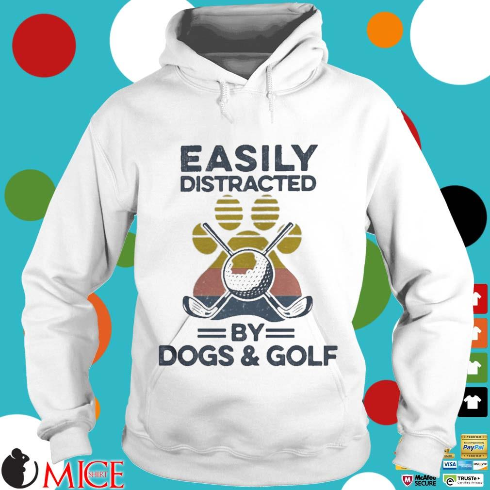 Easily Distracted By Dogs And Golf Footprint Vintage Shirt t Hoodie